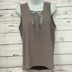 BKE red textured tank blouse in beige brown